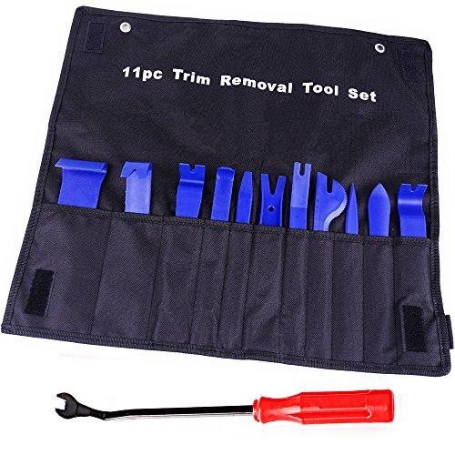 ATOP VALUE 12 Pcs Auto Trim Door Panel Window Molding Upholstery Fastener Clip Removal Tool Kit Durable Nylon Storage Bag - Blue