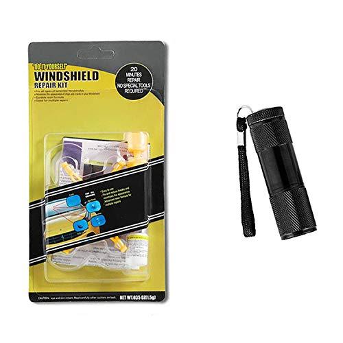 HAODE Car Windshield Repair Kit with UV Light Glass Nano Repair Fluid for Cars Window Repair Resin for Cracks Bulls-Eye Half-Moon Star Chips