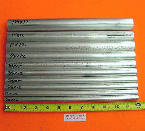 10 Pieces 6061 T6 ALUMINUM ROUND ROD ASSORTMENT 12 To 1-14 Lathe Stock 62 12 58 34 78 1 1-14