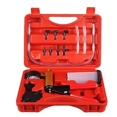 BestTeam 2 in 1 Auto Car Brake Fluid Bleeder Adapter Oil Change Hand Held Vacuum Pistol Pump Tester Kit DIY for Vehicles Car Repairing