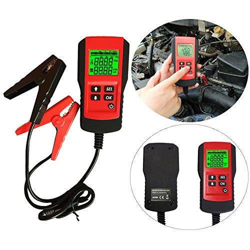 eOUTIL AE300 Digital 12V Car Battery Tester Analyzer for Life PercentageVoltage Resistance and CCA Value-RED