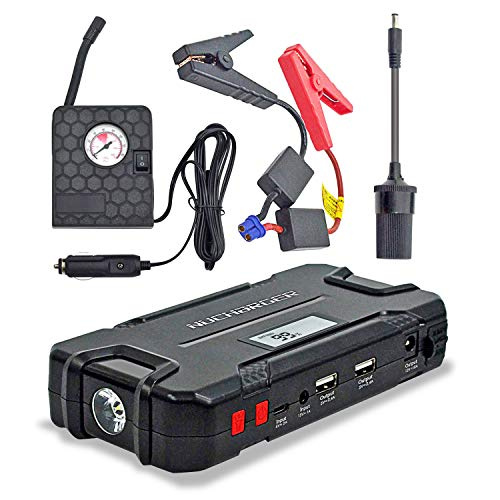 12V Jump Starter with Portable Air Compressor-Nucharger PJ16 600A Peak Auto Battery Booster Earthquake Emergency Tool 12000mAh Multi-functional Power Pack w Cigarette Lighter Adapter 2019 Upgraded