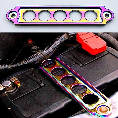 Car Racing Sport Battery Holder Bracket Tie Down Aluminum Jdm Style Cnc Billet Aluminum Anodized Rainbow Neo For Aftermarket Universal Vehicle
