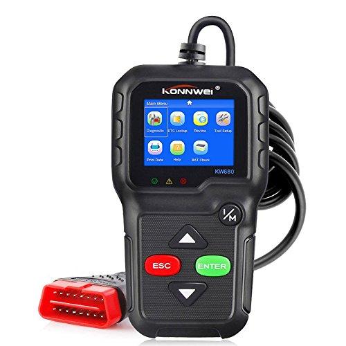 BARHAR OBD2 Scanner KONNWEI KW680 OBDII Car Diagnostics Scanner Full OBD II Functions Vehicle Fault Codes Engine Diagnostic Code Reader with Extra BAT Check  O2 SensorOn-Board Monitoring Test