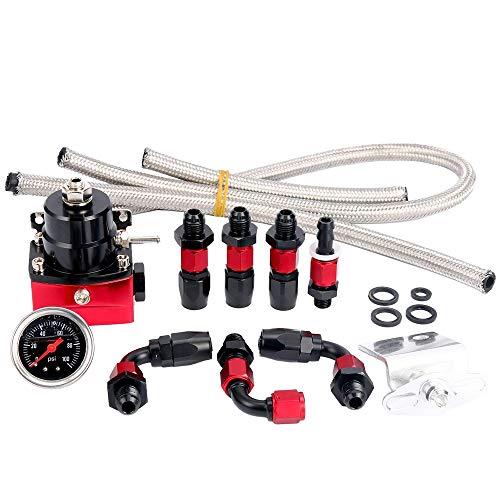 SUNROAD Universal Adjustable Aluminum Fuel Pressure Regulator Valve Kit  100 Psi Pressure Gage AN6 Fitting Connectors Kit Black Red