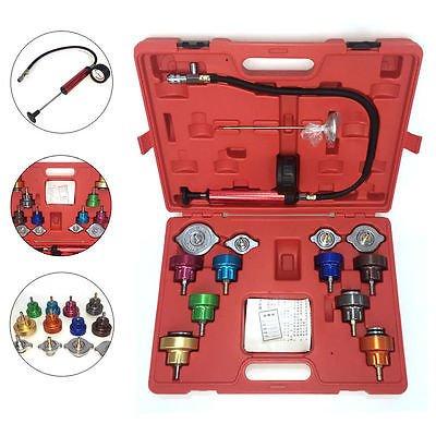 14PC Cooling System Pressure Leak Tester Radiator Gauge Pump Testing Tools Kit