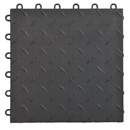 Speedway 789453B-50 Diamond Garage Floor 6 Lock Diamond Tile 50 Pack Black