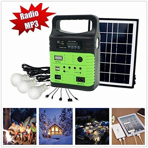 10-Watt Solar Generator Portable kitPower InverterSolar Generator System for Home Camping9000mAh Rechargeable Battery Pack UPS Power Supply Included 6 Watt Solar Panels
