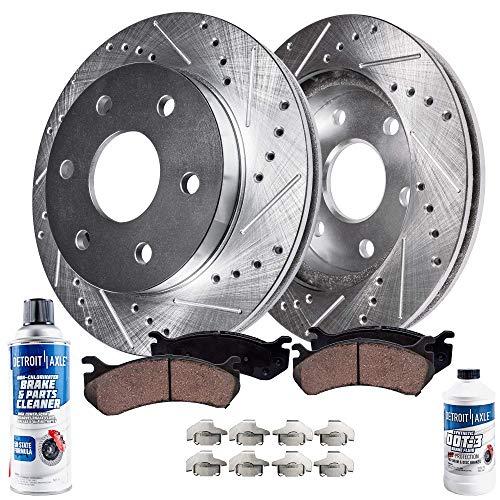 Detroit Axle - Front Drilled and Slotted Brake Kit Rotors wCeramic Pads wHardware Brake Kit Cleaner Fluid for 04-05 Buick Rainier - 04-05 Isuzu Ascender - 02-05 Chevy TrailblazerGMC Envoy