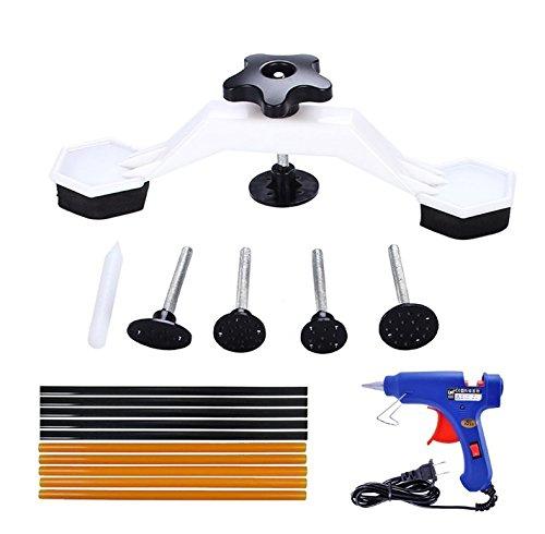 H-Gamely PDR Tools – Pops a Dent Bridge Dent Puller Kit with Hot Melt Glue Gun Glue Sticks for Car Body Dent Repair
