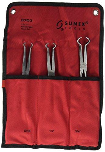 Sunex 3703 11-Inch Long Hose Gripper Pliers Set 516-Inch - 34-Inch 3-Piece