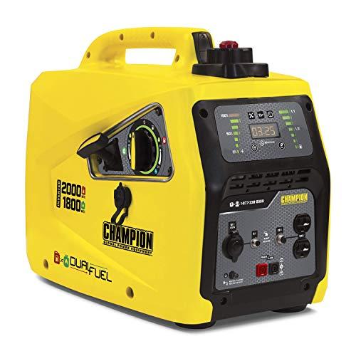 Champion Power Equipment 100402 2000-Watt Dual Fuel Parallel Ready Inverter Portable Generator Yellow