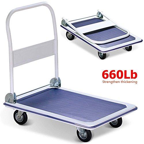 660lbs Platform Cart Dolly Folding Foldable Moving Warehouse Push Hand Truck