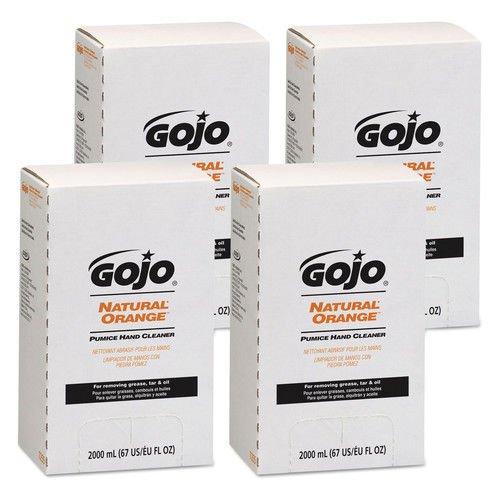 GOJO Industries 7255-04 NATURAL ORANGE Pumice Hand Cleaner Refill Citrus Scent 2000mL 4Carton