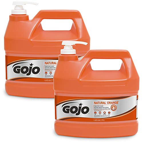 GOJO NATURAL ORANGE Pumice Industrial Hand Cleaner 1 Gallon Quick Acting Lotion Hand Cleaner with Pumice Pump Bottle Pack of 2 - 0955-02
