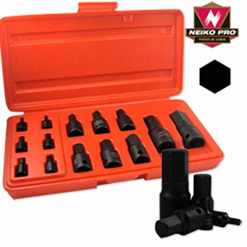 Black Impact Sae Standard Size Hex Allen Bit Socket Drive Tool Set For Wrench
