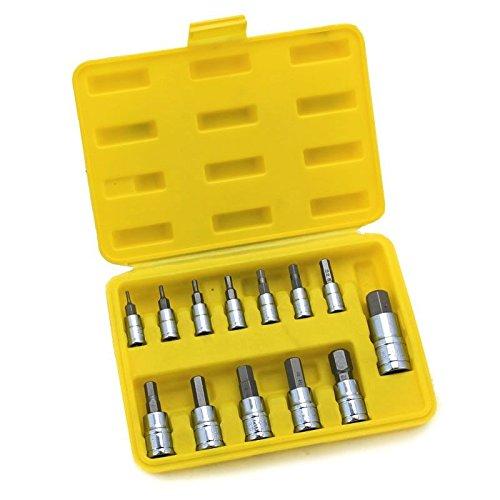 NEW 13 PCS SAE Hex Socket Bits Case S2 14 38 12 Drive Tool Set CR-V NEW Forged