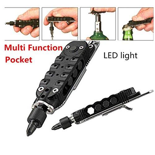 Hometom Pocket Multi Function Tools Set LED Light Keychain Pliers Screwdriver Opener Black