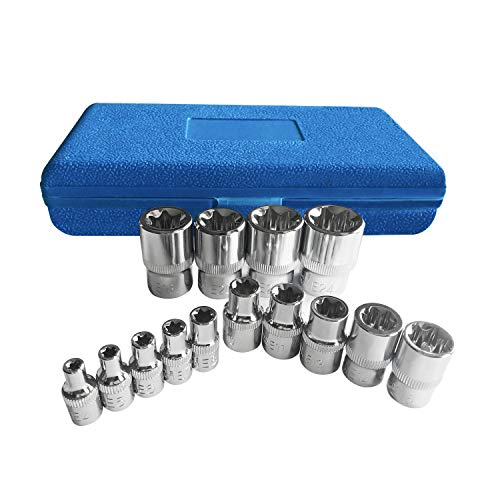 Torx Socket Set Tamper Proof Torx Star Bit Torq Torque Female E-socket Set E4-E24 14 38 12 Drive 14Pcs