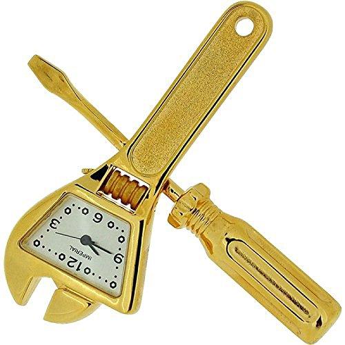 Miniature Gold Tone Spanner Screwdriver Tool Set Collectors Clock IMP1033