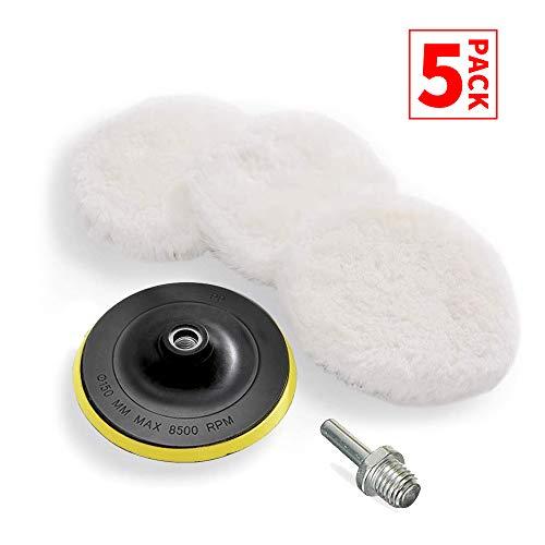 BOKA 6 Inch Wheel Polishing Buffer Wool Kits Polishing Wool Pad X 3 Velcro Backing Pad X 1 M14 Drill Adapter X 1 for Car Polishing Waxing Buffing in 6 Inch
