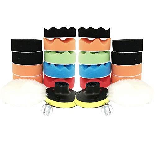 Huiaway Car Foam Drill Polishing Pad Kit 24 PCS 4 Inch Buffing Pads Compound Drill Buffing Sponge Pads Kit for Car Sanding Polishing Waxing Sealing Glaze