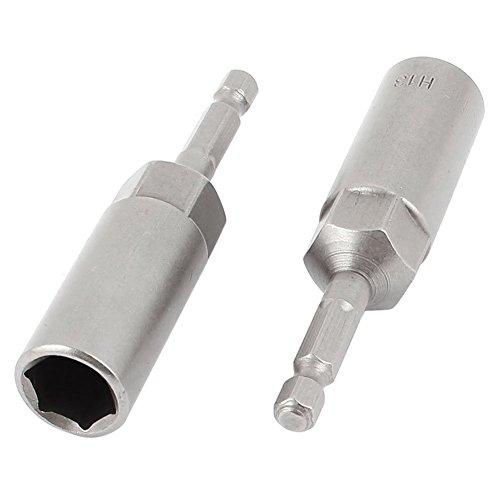 SODIALR 80mmx13mm Metal Screwdriver Drill Hex Nut Driver Socket Bit 2 PCS Gray
