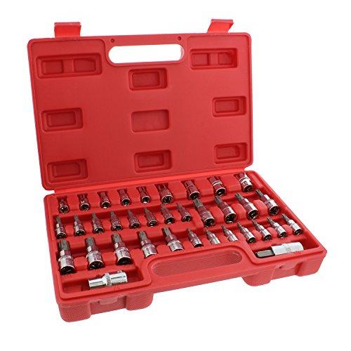 ABN Star Socket Bit Set 35pc Kit 14 38 12 Inch Drive Socket Set External E4 to E16 Torx T8 to T55 Socket Bits