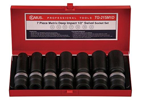 Genius Tools 7 Piece 12 Dr Metric Deep Swivel Impact Socket Set TG-215M1D