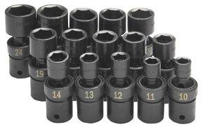 SK Hand Tools 34350 15-Piece 12-Inch Drive 6 Point Swivel Metric Impact Socket Set