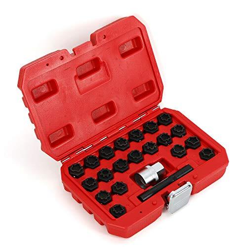BOYU-SHITAI 22PcsSet Wheel Locking Key Set Car Wheel Nut Lock Key Socket Kit Anti-Theft Removal Tool for Audi Wheel Rim Lug Nut Master Removal USA Stock