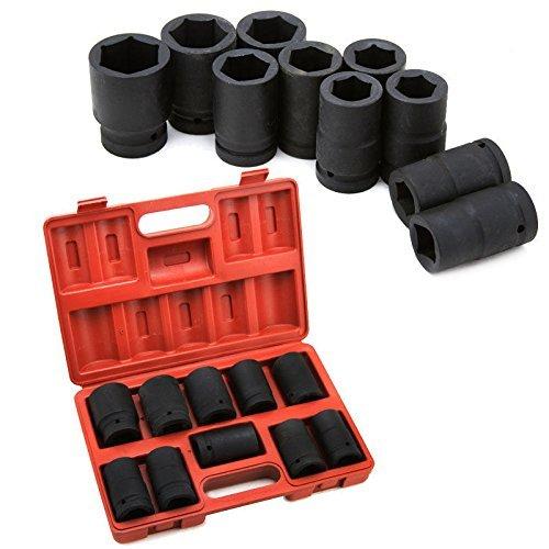 Generic  Impact Soc 10pc 1 Shallow Shallow Sockets Set ocket Size 34-1 58 -1 5 Black Impact nic T Mechanic Tools SAE SAE