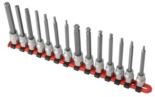 Sunex 9921 38-Inch Drive Long Ball Hex Bit Socket Set Metric CR-V 18-Inch - 38-Inch 14-Piece