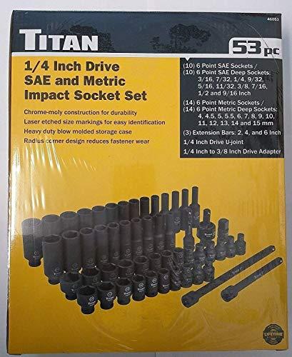 Titan 46053 14 Drive SAE and Metric Socket Set 53pc