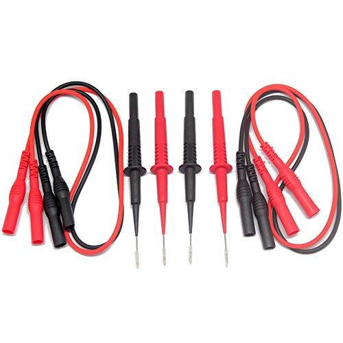 Aidetek Sharp Stainless Steel Needle Tipped Tip Multimeter Probes Test Leads 4 Fluke Tester 600v 1a 4mm Socket  Banana Plug Test Leads Red Black