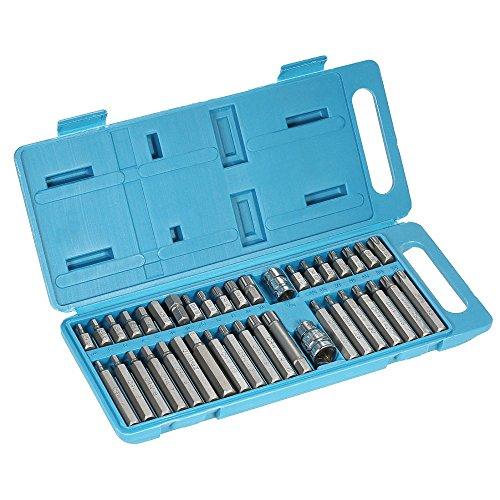 HooGels 40pcs 12 38 Chrome Vanadium Steel Torx Hex Spline Bits Sockets Set Professional Auto Drive Repair Tools Kit with Storage Case