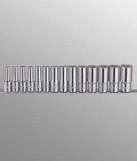 Genius TW-314SD 14 Piece 38 Drive 12 point SAE Depp Wall Hand Socket Set