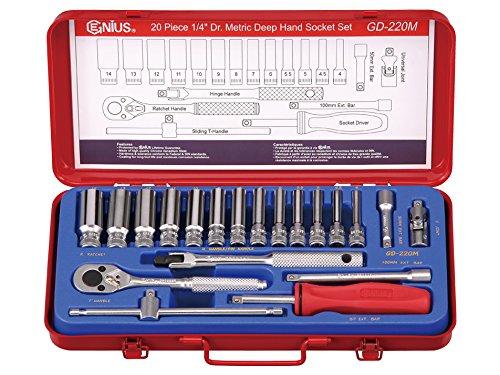 Genius Tools 20Pc 14 Dr Metric Deep Hand Socket Set GD-220M