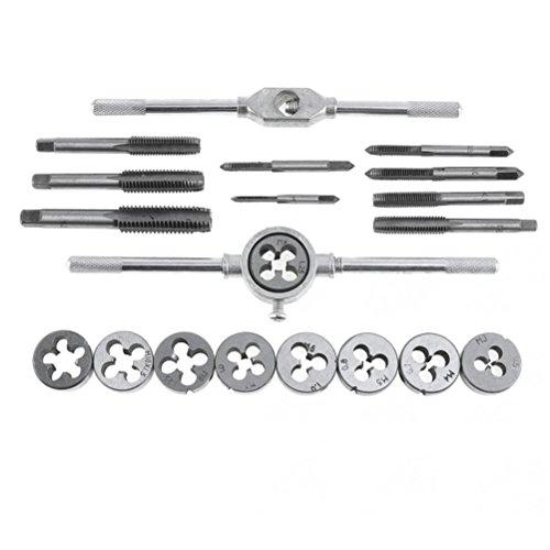 UKCOCO 20pcs M3-M12 Screw Thread Metric Plugs Tap Wrench Die Wrench Set