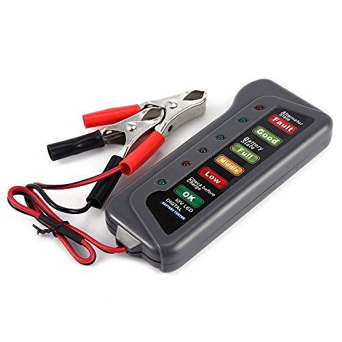 Tpfocus T16897 12V Digital Battery Alternator Tester For Truck Motorcycle with 6 LED Lights Car Vehicle Diagnostic Tool