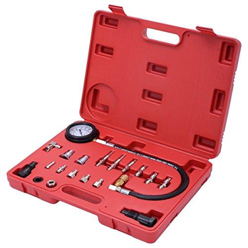 Goplus 19pc Cylinder Compression Test Kit 25 Compression Gauge Engine Pressure Tester Meter Tool Kit Set For Diesel Vehicle Cylinder Diagnostic