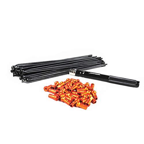 MXCHAMP Stainless Steel Spoke Nipple and Wrench Set for Front MX Rim 21 21x160 21x160 Black SS Spokes Orange Nipples