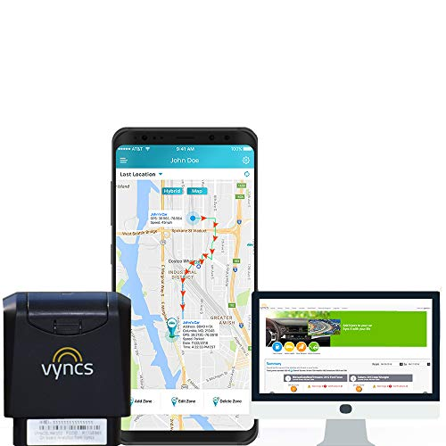 VyncsFleet GPS Tracker No Monthly Fee OBD Real Time 3G Fleet CarTruck Tracking Free 1 Year Data Plan Trips Vehicle Diagnostics Driver Safety Alerts Fuel Report Emission Report Black