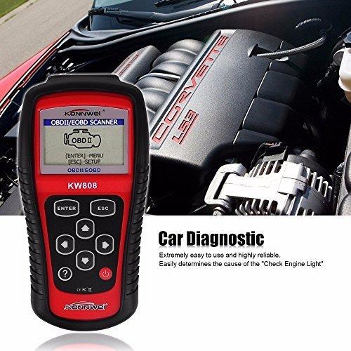 wuy Professional EOBD OBD2 OBD II Scanner Car Computer Vehicle Diagnostics Tool Auto Code Reader for VWAudi Color Red Engine Reset Tool