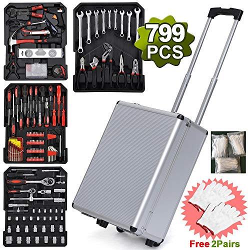 799pcs Sturdy Aluminum Trolley Case Tool Set Auto Mechanics Wrench Ratchet Socket Kit Organizer Chest Wheeled Carry Box