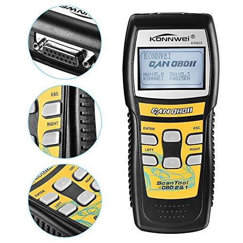 KONNWEI Car Code ScannerKW825 Universal OBDII OBD2 Diagnostics Scanners LCD Code Reader Car Engine Fault Code Reader for 1996 or Newer OBD2 Protocol Vehicle Black