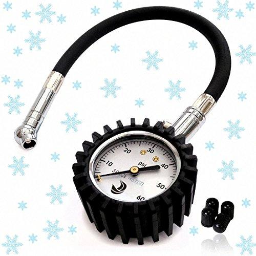 Tire Pressure Gauge 60 PSI - Heavy Duty Tire Air Pressure Gauge - Best Accuracy For Car Motorcycle Bike - Classic Dial Tire Gauge - 4 Free Tire Valve Caps