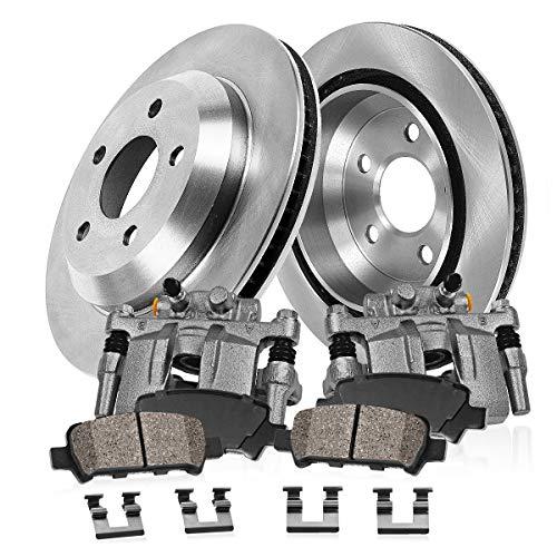 CCK02604 2 REAR Original Remanufactured Calipers  2 OE Rotors  4 Low Dust Ceramic Brake Pads