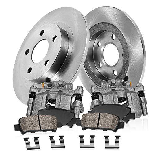 Callahan CCK07386 2 REAR Original Brake Calipers  2 OE Rotors  Ceramic Pads  Clips fit Audi A3 Volkswagen Jetta