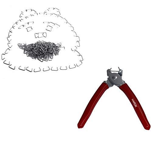 HARDK Hog Ring Pliers 300 Galvanized Hog Rings - Professional Upholstery Installation Kit